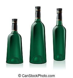 sæt, grønne, flaske, vin