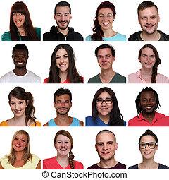 sæt, gruppe, folk, unge, multiracial, portræt, smil