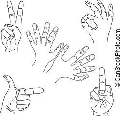 sæt, hånd