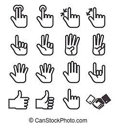 sæt, hånd, ikon