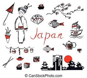 sæt, -, hånd, symboler, konstruktion, japan, stram