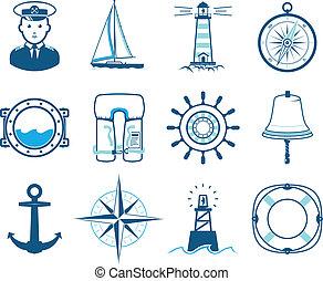sæt, hav, afsejlingen, iconerne