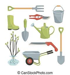 sæt, have, adskillige, landbrugs-, redskaberne, omsorg