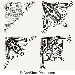 sæt, hogh, corners., fire elementer, udsmykket, design.