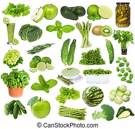 sæt, hos, grønne, mad