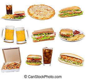 sæt, hos, hurtig mad, produkter
