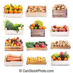 sæt, i, adskillige, frugter grønsager