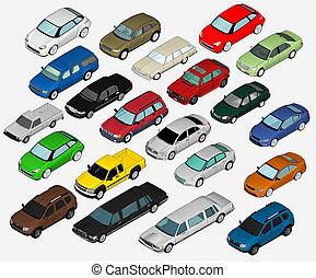 sæt, i, adskillige, isoleret, 3, bilerne