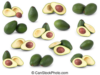 sæt, i, avocadoer, isoleret, hen, hvid