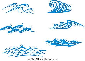 sæt, i, bølge, symboler