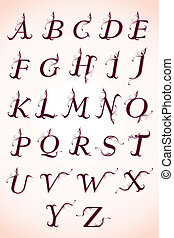 sæt, i, calligraphy, alfabet