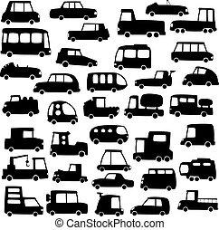 sæt, i, cartoon, bilerne, silhuetter