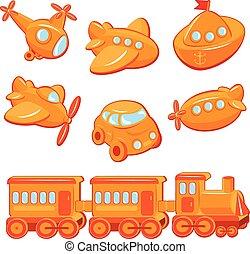 sæt, i, drenge, legetøj, -, transport, cartoons, -, tog, automobilen, flyvemaskine, skib