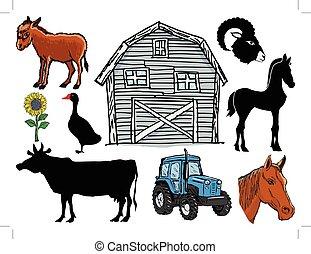 sæt, i, dyr farm, og, emne