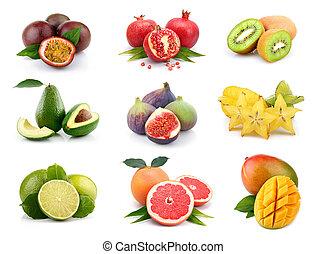 sæt, i, eksotiske frugter, isoleret, på hvide