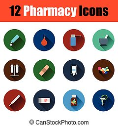 sæt, i, farmacy, iconerne
