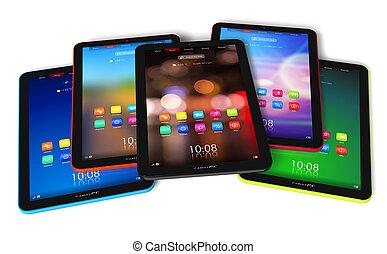 sæt, i, farve, tablet, computere