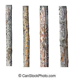 sæt, i, fire, tømmer, isoleret, på hvide, baggrund