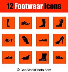 sæt, i, footwear, iconerne