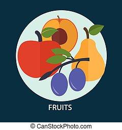 sæt, i, frisk frugt, by, din, konstruktion