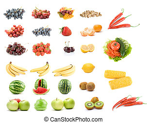 sæt, i, frugter grønsager