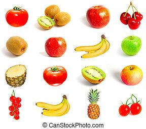 sæt, i, frugter grønsager, isoleret