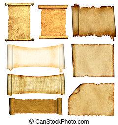 sæt, i, gamle, parchments