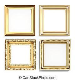 sæt, i, gylden, rammer, isoleret, på hvide, baggrund., 3, gengivelse