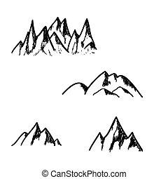 sæt, i, hånd, stram, bjerge, isoleret, på hvide, baggrund, vektor