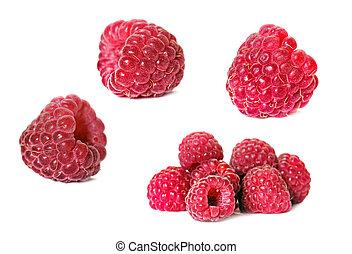sæt, i, hindbær, isoleret