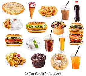 sæt, i, hurtig mad, produkter