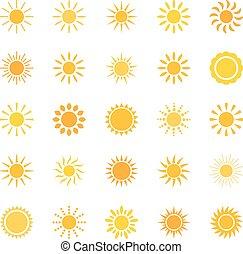 sæt, i, iconerne, sol, vektor, illustration