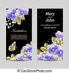 sæt, i, invitation bryllup, cards, design.