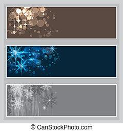 sæt, i, jul, bannere, vektor