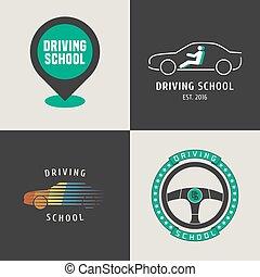 sæt, i, kørende, skole, vektor, logo