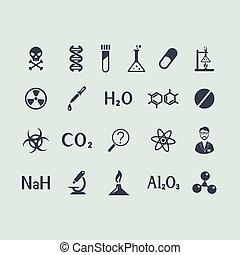 sæt, i, kemi, iconerne