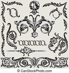 sæt, i, klassisk, blomstret dekoration, elementer