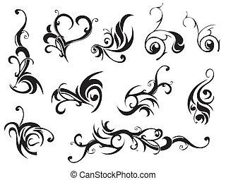 sæt, i, klassisk, dekoration, elements., vektor