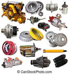sæt, i, motor, og, automobilistisk, parts., isoleret, hen, hvid