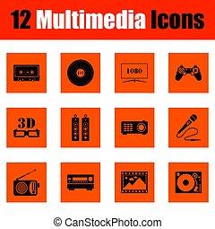 sæt, i, multimedia, iconerne