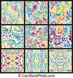 sæt, i, ni, hand-drawn, seamless, mønstre