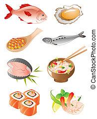sæt, i, seafood, iconerne