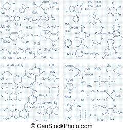 sæt, i, seamless, vektor, baggrunde, hos, kemi, formler, og, ligninger