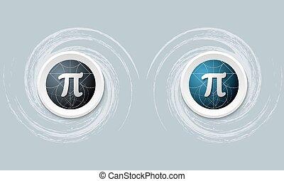 sæt, i, to, ikon, og, pi, symbol