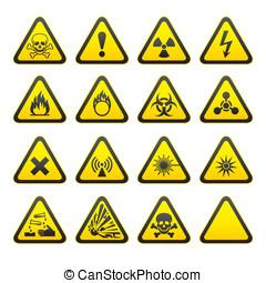 sæt, i, trekantet, advarsel, hazard, ja