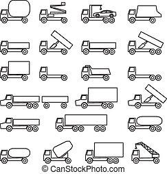 sæt, i, vektor, iconerne, -, transport, symbols., sort, på, white., ve