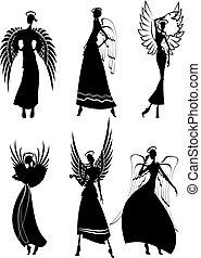 sæt, i, vektor, silhuet, smukke, fairy, flyve, engle