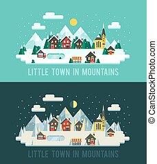 sæt, i, vinter, landscapes., bjerge, landscapes., dag og nat, ind, bjerge., vektor, illustration, liden, town., lejlighed, style:, vinter, landskaber, ind, bjerge., vinter, hytter, ind, bjerge