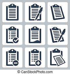 sæt, iconerne, clipboard, checklist, isoleret, vektor