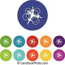 sæt, iconerne, farve, molekyle, sammenhænge, vektor